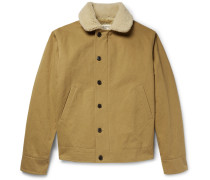 Shearling-trimmed Cotton-canvas Jacket