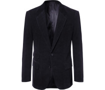 Midnight-blue Stretch-cotton And Cashmere-blend Corduroy Suit Jacket - Midnight blue
