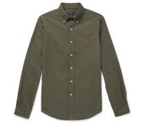 Slim-fit Button-down Collar Garment-dyed Cotton Oxford Shirt - Green