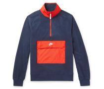 Colour-block Shell-trimmed Fleece Half-zip Sweatshirt - Navy