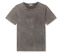 Oversized Distressed Printed Cotton-jersey T-shirt