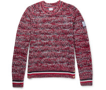 Stripe-trimmed Mélange Virgin Wool Sweater - Red