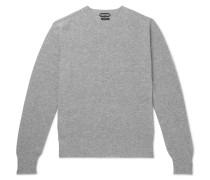 Waffle-knit Mélange Cashmere Sweater - Gray