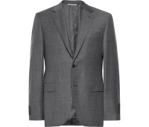 Dark-grey Slim-fit Mélange Wool-sharkskin Suit Jacket