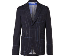 Slim-Fit Topstitched Striped Woven Blazer