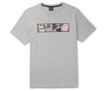 Printed Mélange Cotton-jersey T-shirt - Gray