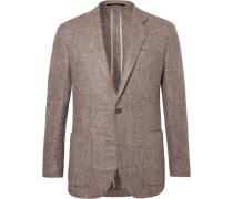 Brown Slim-fit Silk, Wool And Cashmere-blend Blazer