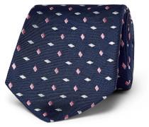 8cm Embroidered Silk Tie - Navy