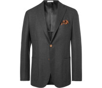 Grey K-jacket Slim-fit Mélange Virgin Wool Blazer