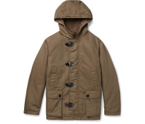 Leather-trimmed Faux Shearling-lined Shell Hooded Jacket