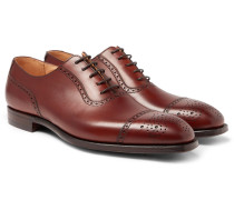 Adam Cap-toe Burnished-leather Oxford Brogues - Brown