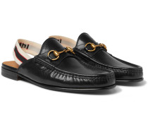 Webbing-trimmed Leather Backless Loafers - Black