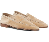 Polperro Leather-trimmed Suede Penny Loafers - Sand