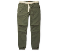 Slim-Fit Tapered Grosgrain-Trimmed Cotton-Blend Ripstop Drawstring Trousers