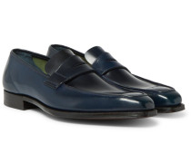 George Horween Shell Cordovan Leather Penny Loafers - Navy
