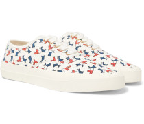 Logo-print Canvas Sneakers - White