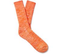 Mélange Combed Cotton-Blend Socks