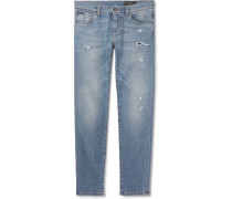 Slim-fit Distressed Stretch-denim Jeans