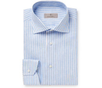 Blue Striped Slub Linen Shirt - Blue
