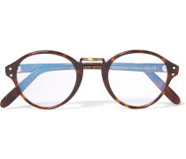 Round-frame Acetate And Burnished Gold-tone Optical Glasses - Brown