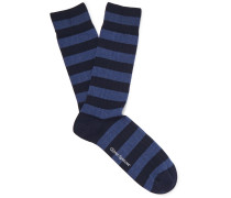 Miller Striped Stretch Cotton-blend Socks - Navy