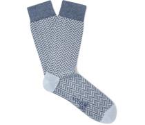 Herringbone Cotton-Blend Socks