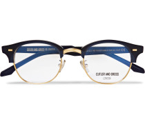 D-frame Acetate And Gold-tone Optical Glasses - Midnight blue