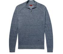 Mélange Linen And Cotton-blend Half-zip Sweater