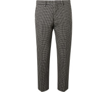 Tapered Houndstooth Virgin Wool And Cotton-blend Trousers