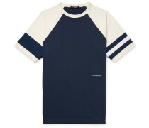 Embroidered Striped Cotton-jersey T-shirt