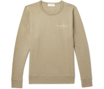Embroidered Fleece-back Cotton-jersey Sweatshirt - Green
