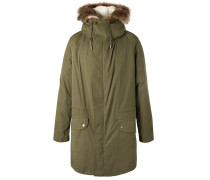 Cotton-blend Hooded Down Parka With Detachable Shearling Lining - Green