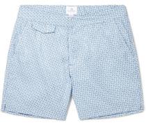 Leaf Geo Mid-length Printed Shell Swim Shorts
