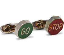 Road Sign Enamelled Silver-tone Cufflinks