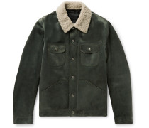Shearling-trimmed Suede Down Trucker Jacket - Gray green