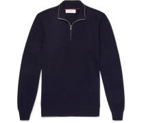 Contrast-tipped Cashmere Half-zip Sweater - Navy