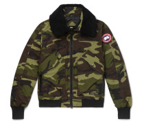Bromley Shearling-trimmed Camouflage-print Shell Down Bomber Jacket - Army green