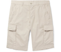 Slim-fit Garment-dyed Cotton-twill Cargo Shorts