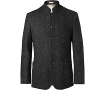 Dark-grey Herringbone Wool-blend Blazer