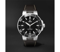Aquis 43mm Stainless Steel And Leather Watch