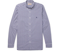 Button-down Collar Gingham Cotton Shirt - Blue