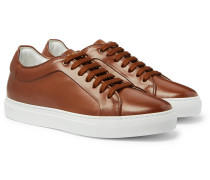 Basso Burnished-Leather Sneakers