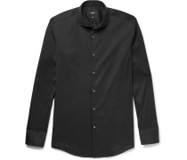 Black Jason Slim-fit Cutaway-collar Stretch Cotton-blend Shirt