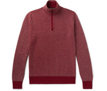 Roadster Striped Cashmere Half-zip Sweater - Red
