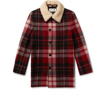 Shearling-trimmed Checked Wool Coat - Red