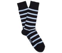 Striped Stretch Cotton-blend Socks - Midnight blue