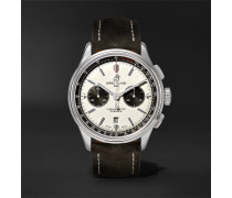 Premier B01 Chronograph 42mm Stainless Steel And Nubuck Watch - White