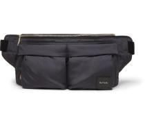 Leather-Trimmed Shell Belt Bag