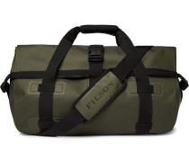 Leather-trimmed Shell Duffle Bag - Green