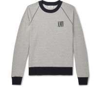Logo-Print Mélange Fleece-Back Cotton-Jersey Sweatshirt